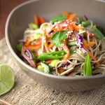 Citrus salad with vegetables and noodles