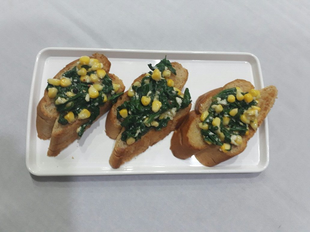 Spinach and Corn Bruschetta step 5