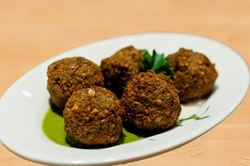 Rice falafel with cheese / wasabi paste