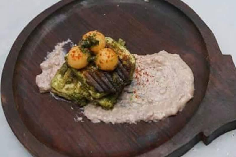 Recipe : Pan Seared Pesto Cottage Cheese with Purple Yam Mash and Tomato Melon Salad