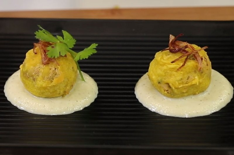 Tuvar Dal Pops with Cauliflower Cream Dip