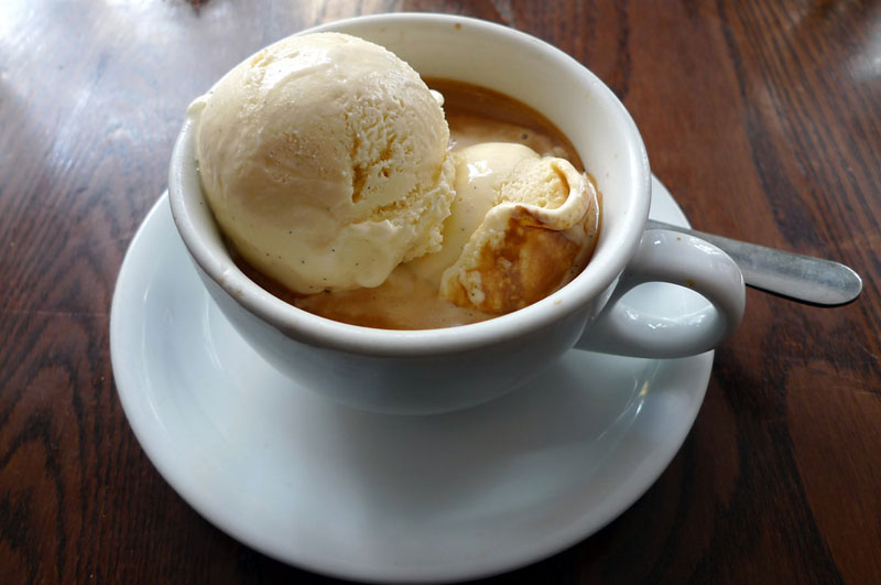 types of coffee - affogato-coffee in a mug with spoon