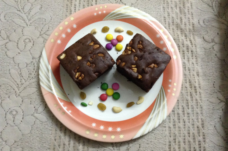 Healthy Chocolate Peanut Butter Brownies with Nuts and Raisins