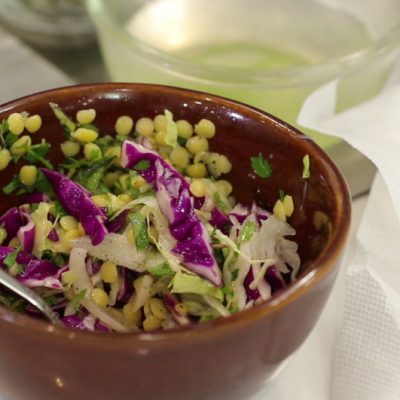 Crunchy Cabbage Salad with Toor Dal Dressing