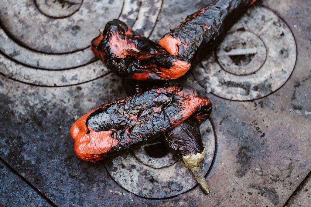 burnt food on gas stove top