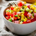 Summer Corn Salad with herbs dressing and cheese