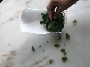 kitchen towel with herbs inside
